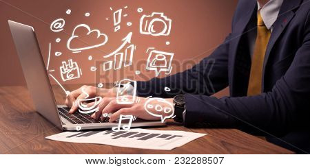 An elegant businessman sitting at desk and pushing the buttons of his laptop keyboard while working on everyday office tasksillustration concept