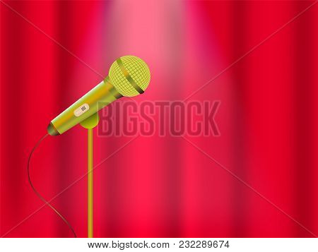 Vector Illustration Of A Concept Of Karaoke, Concert Or Festival. Microphone On Stage And Closed Cur