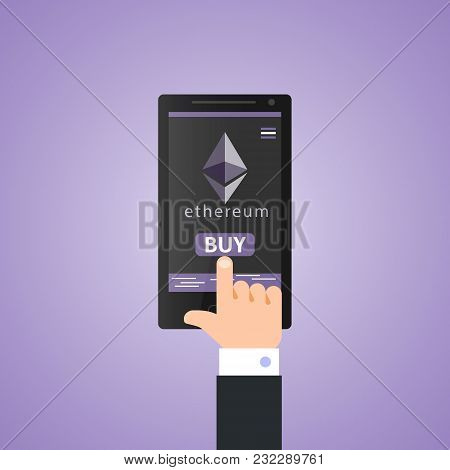 Concept Of Virtual Business Digital Ethereum Cryptocurrency. Hand Holds Smartphone With Ethereum Cry