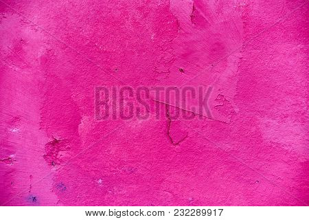 Modern Abstract Painted Pink Street Stone Wall