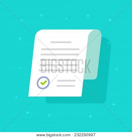 Document Approved With Stamp Vector Icon, Flat Cartoon Paper Doc Application Page With Approval Seal