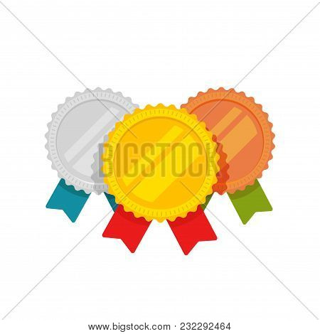 Medals Vector Set, Flat Cartoon Gold, Bronze And Silver Medal With Red, Green And Blue Ribbon, Sport