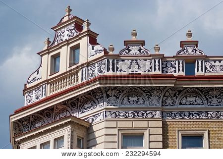 The Upper Part Of The Facade Of A Beautiful House.