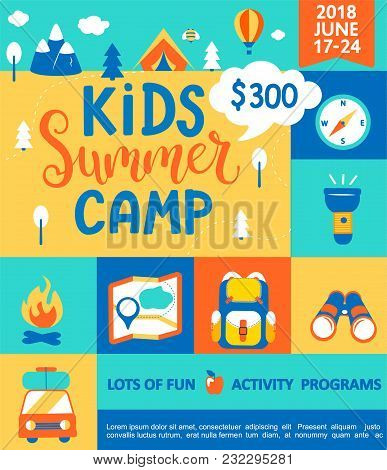 Poster For The Kids Summer Camp, Concept With Handdrawn Lettering, Camping And Travelling On Holiday