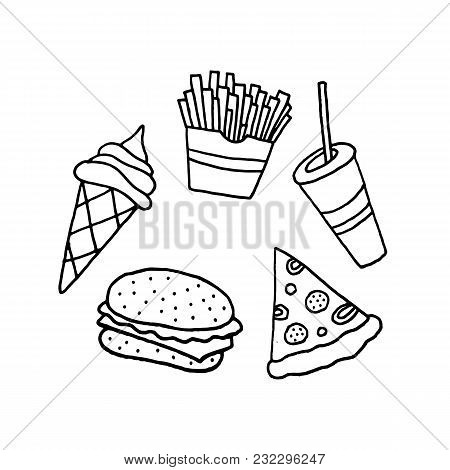 Linear Cartoon Hand Drawn Fast Food Set. Cute Vector Black And White Fast Food Set. Isolated Monochr