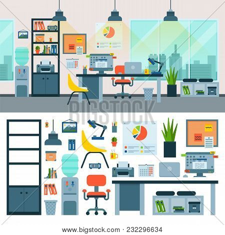 Office Vector Work Place With Computer And Workers Furniture Table Or Chair In Furnished Business In