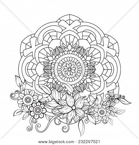 Adult Coloring Book Page With Flowers And Mandalas Oriental Pattern Vintage Decorative Elements Hand Drawn Vector Illustration