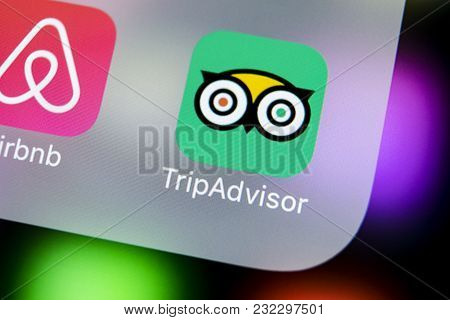 Sankt-petersburg, Russia, March 21, 2018: Tripadvisor Application Icon On Apple Iphone X Screen Clos