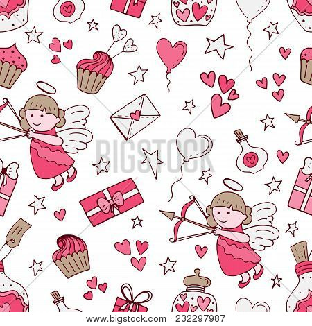 Valentine Seamless Pattern With Cupcake, Angel, Love Letter, Stars, Dream, Ribbons, Gift Candy Bottl