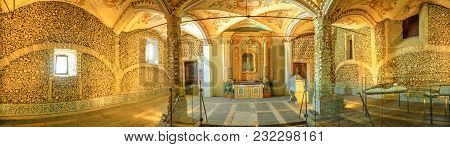 Evora, Portugal - August 18, 2017: Panorama Of Chapel Of Bones Or Capela Dos Ossos, One Of The Most