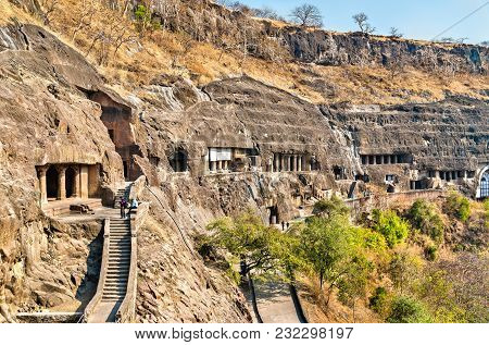 View Of The Ajanta Caves. A Unesco World Heritage Site In Maharashtra, India