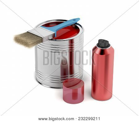 Paintbrush, Paint Can And Spray With Red Color, 3d Illustration