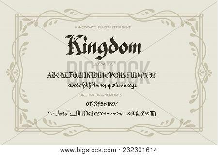 Blackletter Gothic Script Hand-drawn Font. Decorative Vintage Styled Letters.