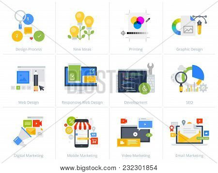 Set Of Flat Design Style Concept Icons Isolated On White. Vector Illustrations For Web Design And De