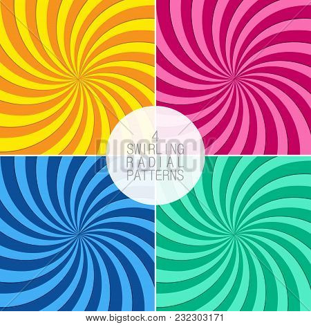 Set Of Swirling Radial Patterns. Background With Swirl Rays. Vortex Beams. Vector Illustration.