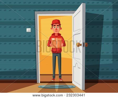 Delivery Guy Handing A Box On Doorway. Cartoon Vector Illustration. Delivery Order. Open Door. Insid