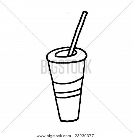 Sweet Cartoon Hand Drawn Drink Illustration. Cute Vector Black And White Drink Illustration. Isolate