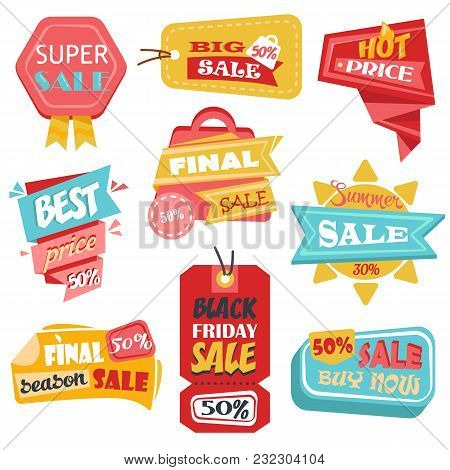 Sale Labels With Discount Prices For Black Friday Or Closeout, Final Sale Promotion. Tags Or Product