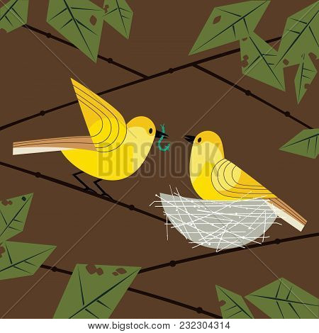 Cute birds couple poster. Comic flat cartoon. Minimalism simplicity design. Male bird is feeding by worm female sitting on eggs in straw nest on tree branch. Template vector birdwatching background poster