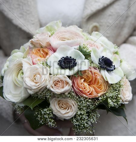 Fresh Colorful Anemones And Roses Flowers Bouqet