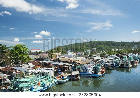 Colorful Fishing Boats In A Harbour. Phu Quoc Island, Vietnam