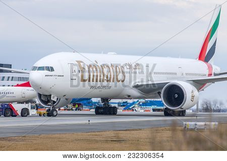 Budapest, Hungary - 2018 March 11, Editorial Use Only: Emirates Boeing 777-300 Er Taking Off - Emira