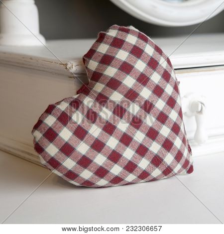 Check Red And White Heart On Bureau