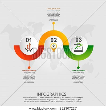 Modern Vector Illustration 3D. Template For Infographic Circles With Three Elements, Rectangles. Con