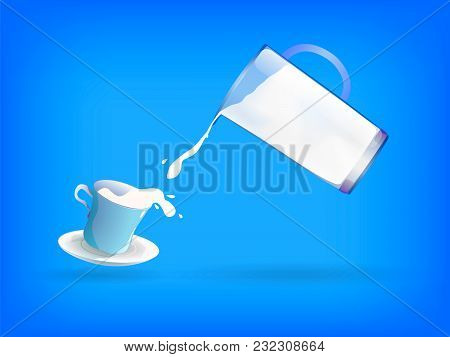 Cup And Jug Full Of Milk. World Milk Day. Vector Illustration