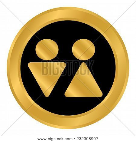Male And Female Restroom Symbol Button. Vector Illustration.