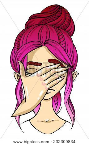 Emotion Character, Girl Face, Facepalm Facial Expression, Hand Covers Face, Cartoon Vector Illustrat