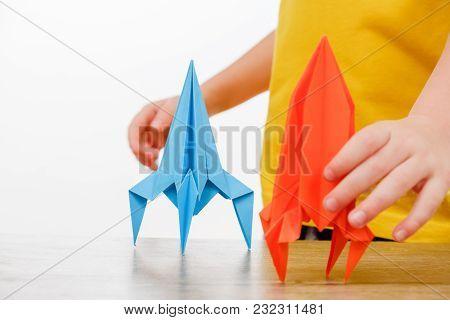 Paper Homemade Origami Rocket. Craft Work For Children