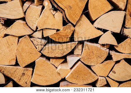 Texture Of Dry Firewood In A Pile For Furnace Kindling