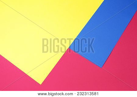 Colorful Papers Geometry Flat Composition Background. Top View