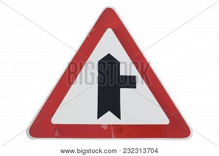 Intersection With Minor Road On The Right Roadsign Isolated On White.