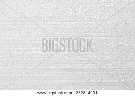 White Polystyrene Foam, Styrofoam Texture Background, Close Up.