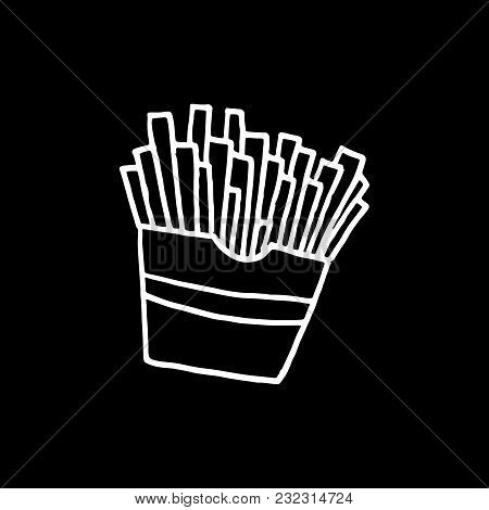Cute Cartoon Hand Drawn French Fries Drawing. Sweet Vector Black And White French Fries Drawing. Iso