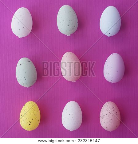 Pattern Background With Pale Pink, Blue, Yellow And Green Easter Eggs. Compositions In Pastel Colors