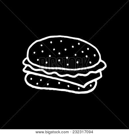 Cute Cartoon Hand Drawn Hamburger Drawing. Sweet Vector Black And White Hamburger Drawing. Isolated