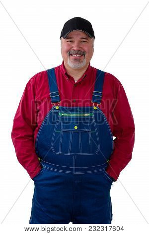 Thoughtful Farm Worker Wearing Dungarees Against White Background