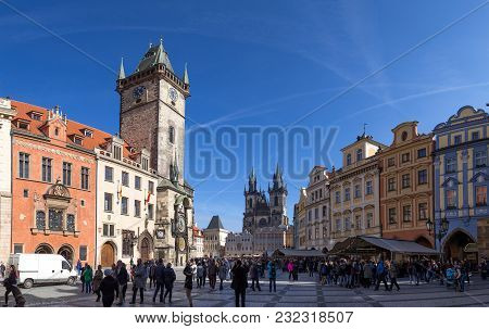 Prague, Czech Republic - March 16, 2017: Old Town Square With The Astronomical Clock Tower In The Hi