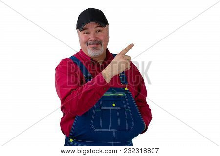 Happy Farmer Or Worker Pointing Upwards On White