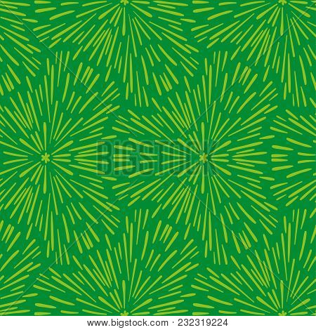 Hand Drawn Seamless Green Pattern. Abstract Shabby Textured Background