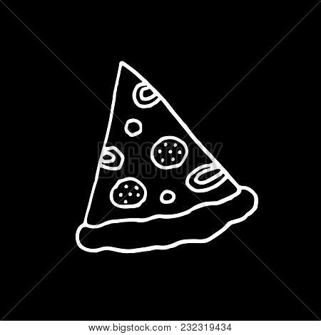 Cute Cartoon Hand Drawn Pizza Drawing. Sweet Vector Black And White Pizza Drawing. Isolated Monochro