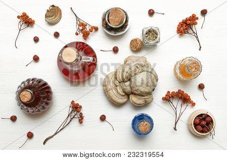 Herbal Medicine. Alternative Medicine Concept. Dry Organic Natural Ingridients. Wild Berry Medicinal