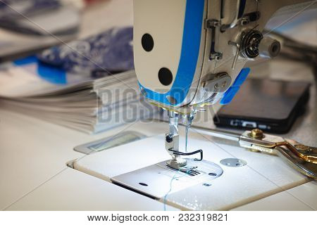 Close-up Sewing Machine Working Part Ready To Work