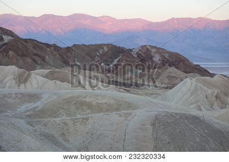 Twenty Mule Canyon From Zabriskie Point. Badlands Death Valley On Sunrise. California. Usa