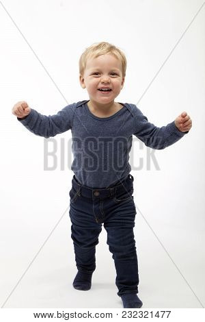 Cute Toddler Ready For Hugs. Studio Shot On White Background.