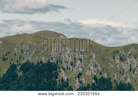 Mountain Ridge In Slovenia With Cabin And Bivouac On Top