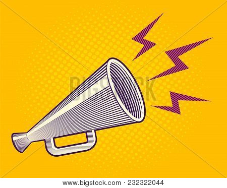 Vector Vintage Poster With Retro Megaphone On Yellow Halftone Background. Vector Megaphone In Engrav